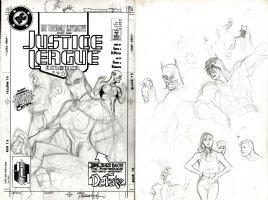 HUGHES, ADAM - Justice League America #31 1st version full cover, #1 Hughes JLA cover Comic Art