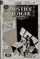HUGHES, ADAM - Justice League America #49 cover, JLA sees Capt Glory in jail Comic Art