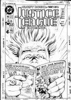 HUGHES, ADAM - Justice League of America #46 cover, Guy Gardner reads Capt Glory #1 GA comic Comic Art