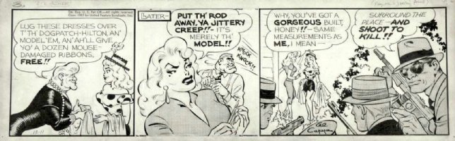 FRAZETTA, FRANK & CAPP, AL - Lil' Abner daily 12-11 1957, Daisy models for sexy female gangster Comic Art