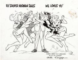 FRAZETTA, FRANK / Al CAPP -  Li'l Abner gals Moonbeam McSwine, Wolf Gal, Blonde & Johnny Comet's Jean - Syndicate Award artwork, 1955 era Comic Art