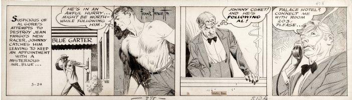 FRAZETTA, FRANK - Johnny Comet daily 3/24 1952, Johnny overhears crime Comic Art