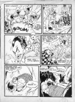 GIUNTA, JOHN / FRAZETTA assists - Captain Marvel Jr #3 page, fight - 1943 Comic Art