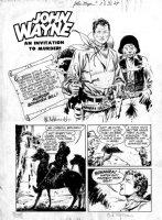 FRAZETTA, FRANK / AL WILLIAMSON - John Wayne #7 pg 1, splash, large close-up Comic Art