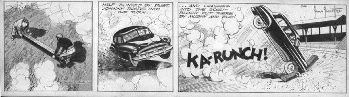 FRAZETTA, FRANK - Johnny Comet daily 8/16 1952, Johnny wrecks car on track Comic Art
