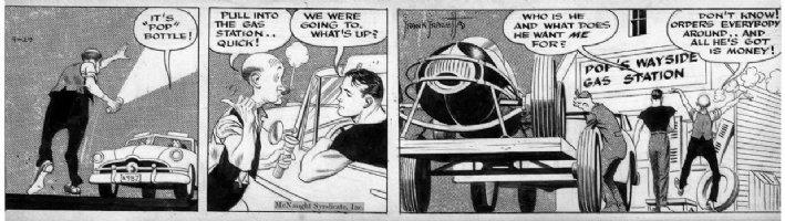 FRAZETTA, FRANK - Johnny Comet daily 4/29 1952, Johnny transports racer, Pops Comic Art