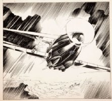 McWILLIAMS, AL - Flying Aces Magazine 1940, Airplane pre-WW2 pulp, plane in rain, illustration Comic Art