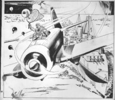 McWILLIAMS, AL - Flying Aces Magazine 1940, Airplane pre-WW2 pulp, plane and net, illustration Comic Art