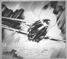McWILLIAMS, AL - Flying Aces Magazine 1940, Airplane pre-WW2 pulp, plane and rain, illustration Comic Art