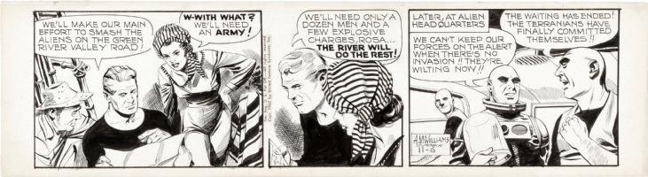 McWILLIAMS, AL - Twin Earths daily, Earth hero & female rebel + Alien invaders 11/6 1962  Comic Art