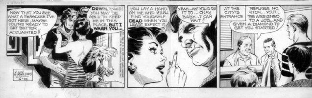 McWILLIAMS, AL - Twin Earths daily  6/15 1962, babe in tiger-stripped dress vs scar face mug Comic Art