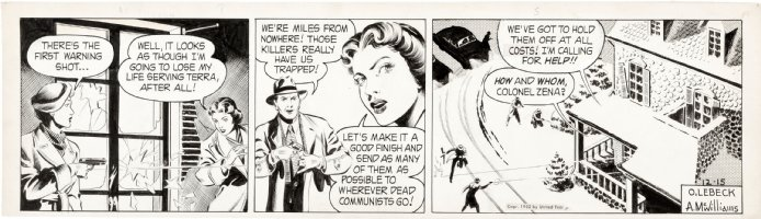 McWILLIAMS, AL - Twin Earths daily 12/15 1952,  Col Zena & Woman at shoot-out Comic Art