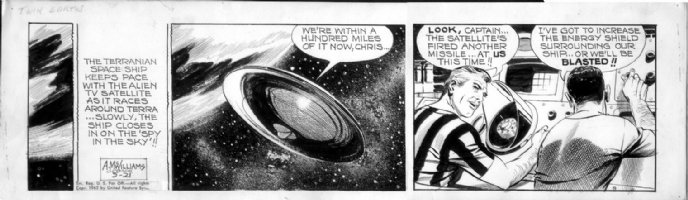 McWILLIAMS, AL - Twin Earths daily 5-21 1962, full Saucer  Comic Art