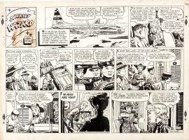 ROBBINS, FRANK - Johnny Hazard Sunday, Johnny flies in with Sydney Strong & Liana shows up 11/6 1955 Comic Art