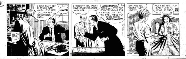 STARR, LEONARD - On Stage daily 1/4 1958, Mary sick in bed with producer seeking her Comic Art