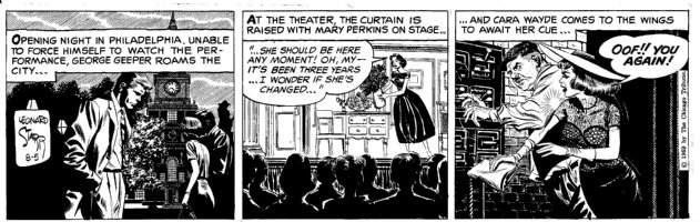 STARR, LEONARD - On Stage daily 8/5 1959, Mary on-stage + back stage mishap  Comic Art