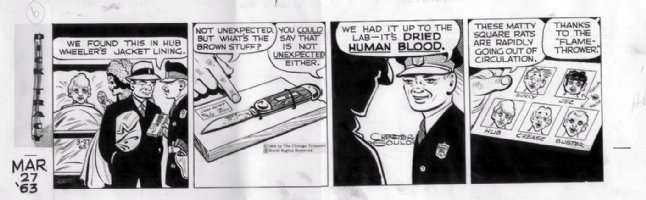 GOULD, CHESTER- Dick Tracy daily 3/27 1963, blood evidence Comic Art