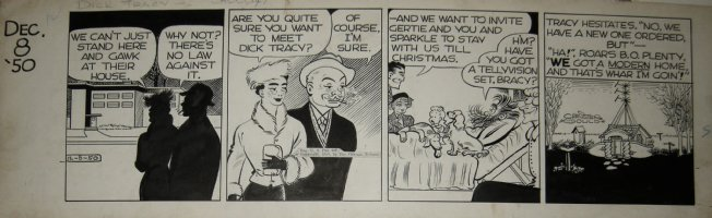 GOULD, CHESTER - Dick Tracy daily, Tracy & Family, 1st week into of villain Dr Plain  12/8 1950 Comic Art