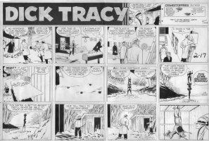 GOULD, CHESTER - Dick Tracy Sunday, Tracy breaks into hideout  2/17 1957 Comic Art