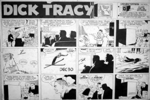 GOULD, CHESTER - Dick Tracy Sunday, Tracy & family watch Winter-sport murder, 12/30 1956 Comic Art