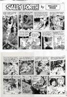 WOOD, WALLY - Sally Forth Sunday 54 A/B, Tarzan swings Sally Forth to his jungle home and bedroom Comic Art