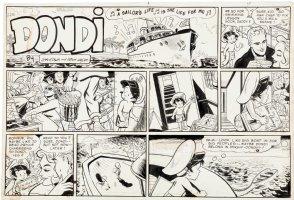 HASEN, IRWIN - Dondi Sunday,Dondi sailing with adults partying, 2/26 1956 Comic Art