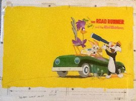 DeLARA, PHL - Road Runner and the Bird Watchers painted book Cover, Wile E. Coyote, Road Runner, Sylvester, 1968 Comic Art