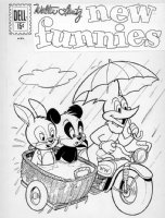 ALVARADO, PETE - NEW FUNNIES #288 cover, final issue! Woody Woodpecker, Andy Panda & Oswald the Lucky Rabbit 1962 Comic Art