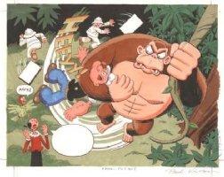 KIRCHNER, PAUL - Popeye Cover Painting, Popeye vs Ape, Quaker Oats 1980 Comic Art