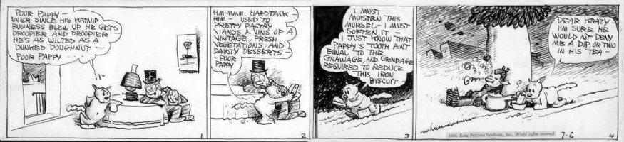 HERRIMAN, GEORGE - Krazy Kat daily 7/6 1936, Kat Family & Krazy Kat passed out on Tiger Tea, classic story - Art Spiegelman' favorite Comic Art