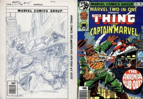 COCKRUM, DAVE - Marvel 2 in One #45 cover prelim, Thing & Capt Marvel Comic Art