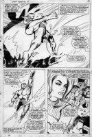 COLAN, GENE - Captain Marvel #4 pg 7, three panels, large  Carol Danvers - Ms Marvel, Submariner flees Comic Art