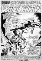 COLAN, GENE - Captain Marvel #2 pg 1, splash - Capt Marvel & Skrull ruler 1968 Comic Art