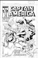ROMITA, JOHN SR / RON FRENZ - Captain America #343 cover, Cap and Battlestar fight villains Comic Art