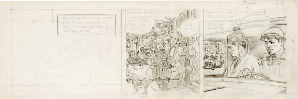CRANDALL, REED - Hong Kong daily pencil art tryout, Tourists & Commies 6/8 1959-1960  Comic Art