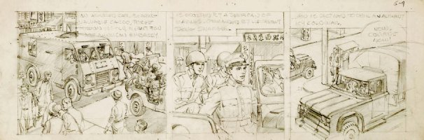 CRANDALL, REED - Hong Kong daily pencil art tryout, Militery & Commies plot 6/9 1959-1960  Comic Art
