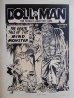 CRANDALL, REED - Doll Man Quarterly #42, Doll Man vs the monster Kain. Extremely rare Superhero monster cover from the EC period Comic Art