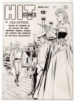 CRANDALL, REED - Hit Comics #62 cover, rare Golden Age cover. Jeb Rivers comes face-to-face with a dangerous, and well-armed, blonde Comic Art