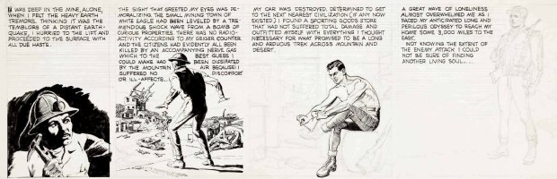 CRANDALL, REED -  Daily Strip Tryout pencil & ink, Last Man On Earth?? total war 1957? Comic Art