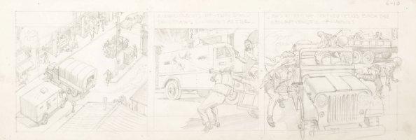 CRANDALL, REED - Hong Kong daily pencil art tryout, Commie bazooka hits convoy 6/10 1959-1960  Comic Art