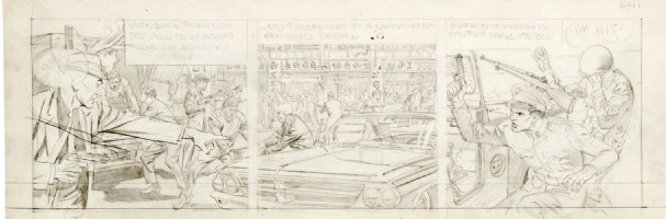 CRANDALL, REED - Hong Kong daily pencil art tryout, army regroups from Commie attack 6/11 1959-1960  Comic Art