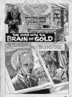 CRANDALL, REED - Creepy splash -  Man With The Brain Of Gold  with published title Comic Art
