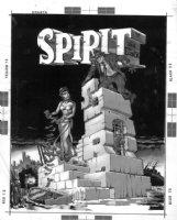 CORBEN, RICHARD - Spirit Mag #2 tonal painting cover art for Eisner's line work Comic Art