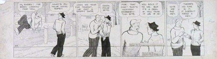 KING, FRANK - Gasoline Alley daily 1/5 1938, Skeek loans friend car with no gas for a date Comic Art