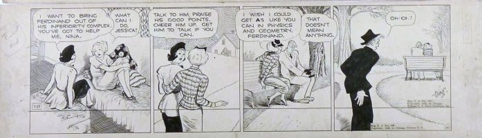 KING, FRANK - Gasoline Alley daily 3/25 1938, Skeez sees Nina with dude Comic Art