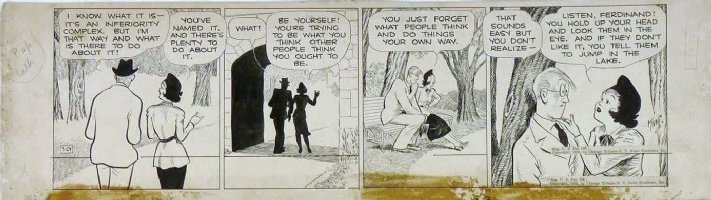 KING, FRANK - Gasoline Alley daily 3/24 1938, Nina's girlfriend & boyfriend Comic Art