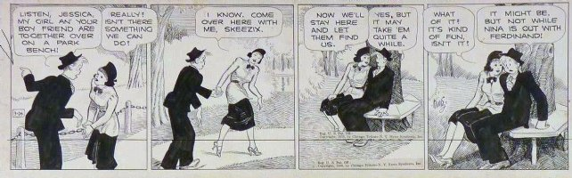 KING, FRANK - Gasoline Alley daily 3/26 1938, Skeek sits with another gal Comic Art