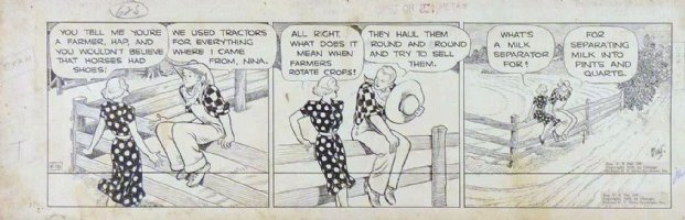 KING, FRANK - Gasoline Alley daily 6/28 1938, Nina & farmer Hap Comic Art