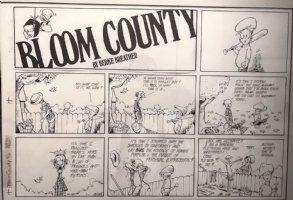 BREATHED, BERKE - Bloom County Sunday, Binkley, Mr Loog turns nudist with Fall leaves    9/6 1987 Comic Art
