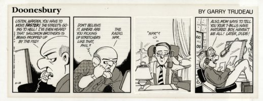 TRUDEAU, GARRY - Doonesbury 1/10 1987 daily, Mark at NPR Comic Art